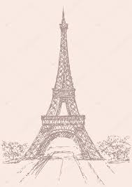 vector drawing from a series of landmarks eiffel tower in paris