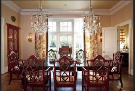 Cherry Red Wooden Chairs With White Crystal Chandelier For - Colonial dining rooms