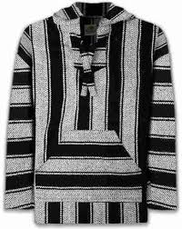 Mexican Rug Sweater Black And White Mexican Baja Hoodie