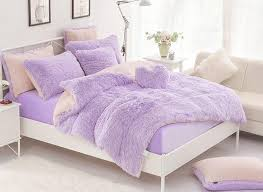 Purple And White Duvet Covers Solid Pink And Creamy White Color Block 4 Piece Fluffy Bedding