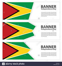 Guyana Flag Guyana Flag Banners Collection Independence Day Stock Vector Art