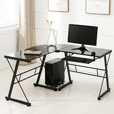 L Shaped Computer Desk With Storage Mecor Computer Desk Corner L Shape Glass Laptop Table
