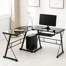 com office more corner l shape computer desk glass laptop table workstation home office furniture black office s