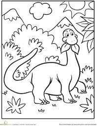 Cute Dinosaur Worksheet Education Com Dinosaur Coloring Page