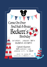 Mickey Mouse Birthday Invitation Cards Nautical Mickey Mouse Birthday Invitation Nautical Mickey Mouse