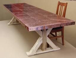 hammered copper dining table dining room belden round dining table glass and copper made com