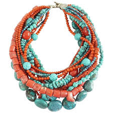 beaded coral necklace images Stephen dweck coral and turquoise multi strand beaded necklace at jpg
