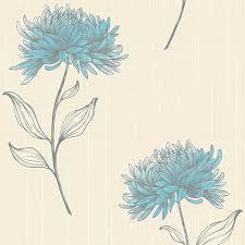 fine decor amelia floral wallpaper teal cream fd31382