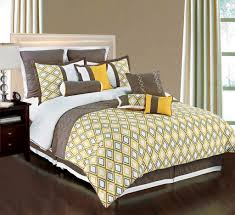 Brown And Yellow Diamonds Queen Bedding With White Leather Queen - White leather queen bedroom set