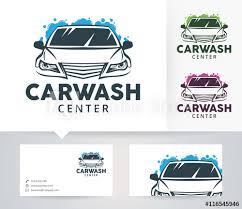 Car Service Business Card Car Wash Center Vector Logo With Alternative Colors And Business