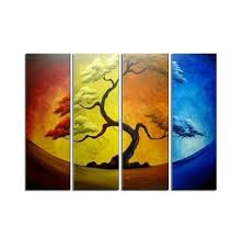Abstract Home Decor 2017 Abstract Four Color Yellow Pine Tree Oil Painting Hand