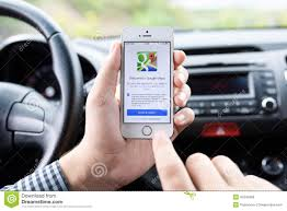 Google Maps Driving Iphone 5s With Google Maps In The Hands Of Driver Editorial Image