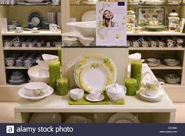 villeroy boch tableware on display in a china shop stock photo