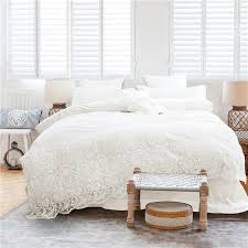 korean style girls white lace bedding set egyptian cotton 4 7pc king queen size luxury wedding bed set bedsheet set duvet cover in bedding sets from home