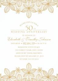 golden lace 50th wedding anniversary invitations elegant luxury