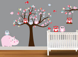 28 owl nursery wall stickers tree flowers owl wall decals owl nursery wall stickers etsy your place to buy and sell all things handmade