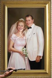 black and white wedding photo now a beautiful full color wedding painting to enlarge