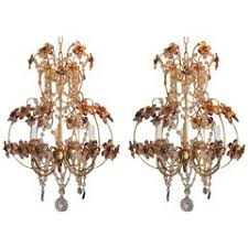 Basket Chandeliers Pair Of Crystal Basket Chandeliers For Sale At 1stdibs