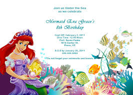ariel disney mermaid free birthday invitation wedding