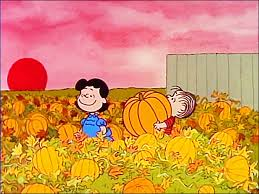 it s the great pumpkin time and linus in the pumpkin patch