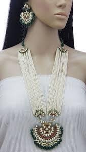 white pearl necklace designs images 34 quot designer jadau kundan multi strands white pearls necklace set jpg