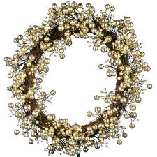 48 light led gold 24 in battery operated berry wreath with timer