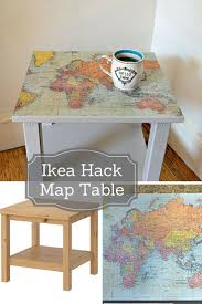 How To Say Ikea How To Make A Map Table An Ikea Hack Ikea Side Table Ikea Hack