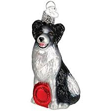 border collie in sleigh ornament new