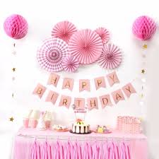 birthday decorations sunbeauty a set pink theme happy birthday decoration diy kids