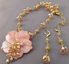 necklace gold pink images Sunrise sunset necklace earrings pink crystal gold jewelry jpg