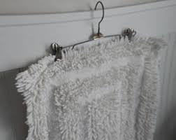 White Bathroom Rugs Vintage Bath Mats U0026 Rugs Etsy