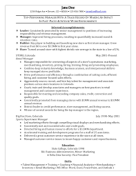 retail manager sample resume