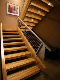 denver stair tread ideas staircase industrial with metal banister