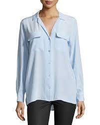 periwinkle blouse equipment silk sleeve blouse periwinkle blue