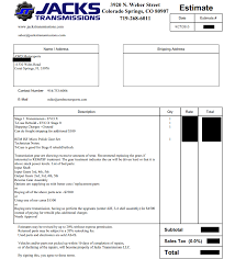 Transmission Rebuild Estimate by Jacks Transmission Archive Evoxforums Com Mitsubishi