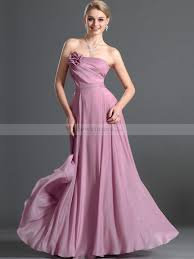 goddess style floral detailed strapless a line long chiffon prom dress