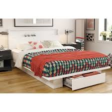Platform Queen Bed With Storage South Shore Holland Pure White Full Queen Platform Bed With
