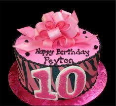 pink bow zebra 10th birthday cake pink buttercream iced round