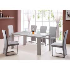 Giovanni Grey High Gloss Dining Table And  Grey Dining - Grey dining room furniture