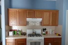 natural cabinets wood and light blue walls kitchen with sky blue