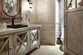 rustic bathroom flooringbathroom with wooden vanity and marble