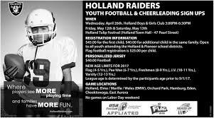 Raiders American Flag Football And Cheerleading Sign Ups Holland Raiders