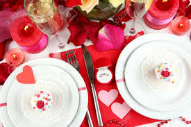 Valentine S Day Tablecloth by Table Setting In Honor Of Valentine U0027s Day Close Up Stock Photo