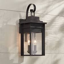 Black Exterior Light Fixtures Bransford 17 High Black Speckled Gray Outdoor Wall Light 8m880