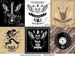 rock roll forever logotype sketches set stock vector 683118538