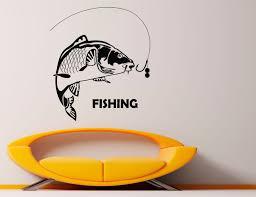 fishing wall decal fish vinyl stickers fish hook art design zoom