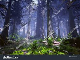 3d rendering woodland forest prehistoric hell stock illustration