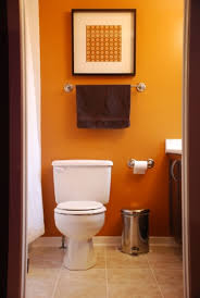 Brown And Orange Home Decor Bathroom Small Bathroom With Fish Patterned Wallpaper Also Metal