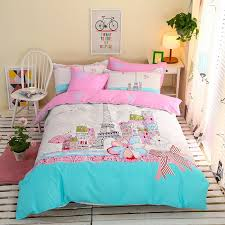 paris bedding set full aqua pink and white eiffel tower print paris city scene french