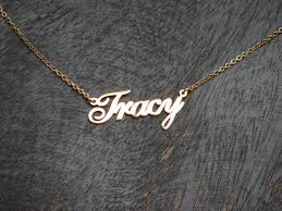 Gold Nameplate Gold Nameplate Necklace Cast Any Name Or Word On This Gold Plated